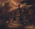 A landscape with Narcissus by a fountain - (after) Isaac De Moucheron