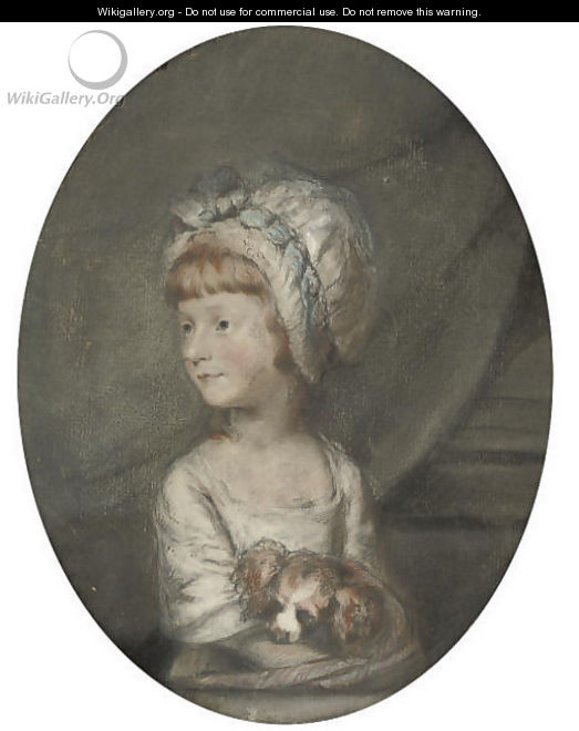 Portrait of a young girl with her dog - (after) Hugh Douglas Hamilton