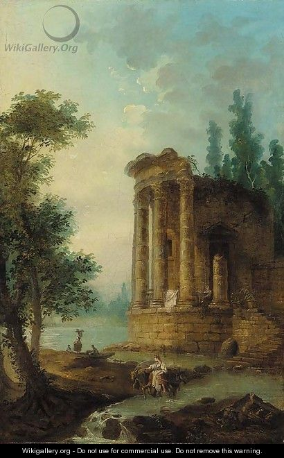 A wooded river landscape with figures by a classical ruin - (after) Hubert Robert