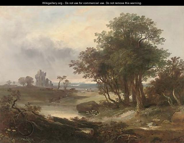 A ruined castle beyond a pool - (after) Horatio Macculloch