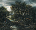 A wooded landscape in stormy weather with a pool, a peasant and a dog on a track - (follower of) Ruisdael, Jacob I. van