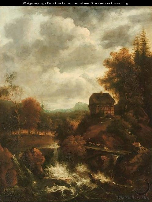 A wooded river landscape with a waterfall and a shepherd with his flock crossing a bridge, a cottage nearby - (follower of) Ruisdael, Jacob I. van