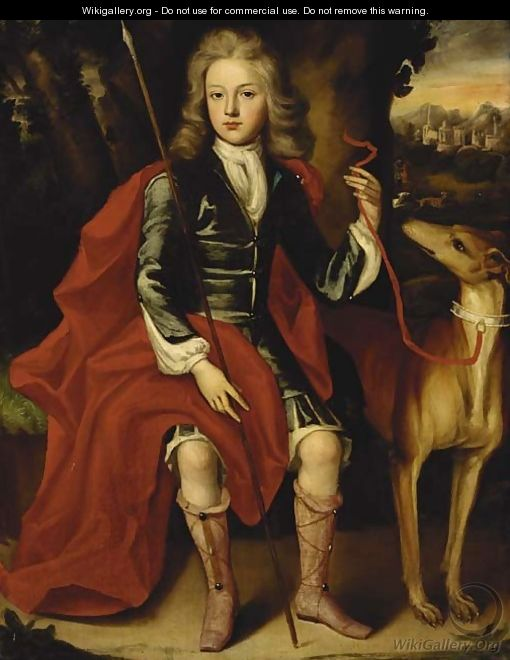 Portrait of a young huntsman, seated full-length, in a blue coat with a crimson wrap, holding a spear, a hound at his side - (after) Huysmans, Jacob