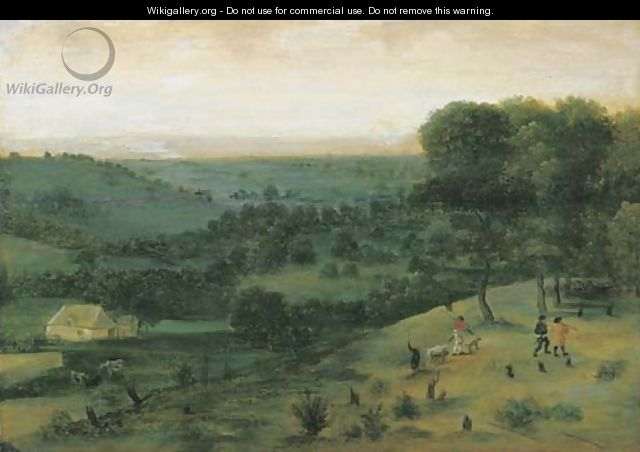 An extensive wooded landscape with huntsmen, a peasant and cattle in the distance - (after) Jacob Grimmer