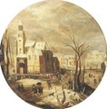 A winter landscape with skaters on a frozen waterway by a castle, peasants returning from market nearby - (after) Jacob Grimmer