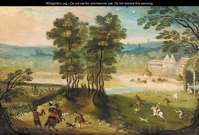 A hunting party in a landscape - (after) Jacob Grimmer