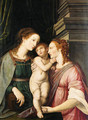 The Virgin and Child adored by a female saint - (after) Jacob De Backer