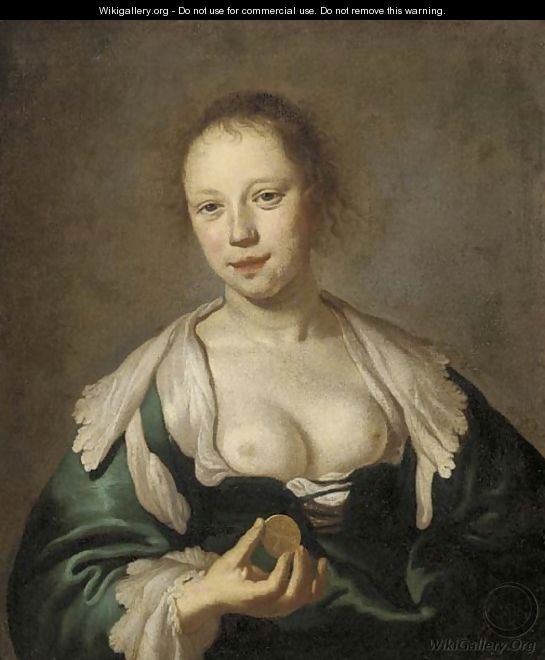 The Sense of Touch A courtesan holding a coin - (after) Jacob Adriaensz. Backer
