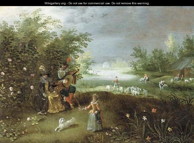 Elegant company making music in a garden, a landscape beyond - (after) Isaac Van Oosten