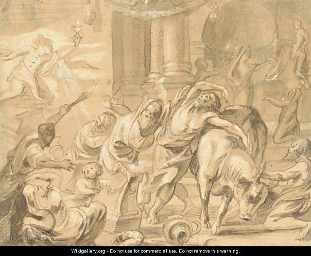 Interior of a pagan temple, perhaps The Prophet Elijah and the Priests of Baal - (after) Jacob Jordaens
