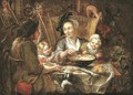 A peasant family dining in an interior - (after) Jacob Jordaens