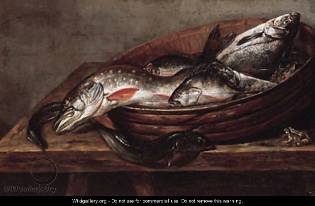 Dead fish in a bowl on a table with a dead frog - (after) Jakob Gillig