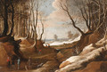A winter Landscape with Faggot Gatherers and Travellers on a Path - (after) Jacques Foucquieres