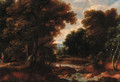 A wooded river landscape with figures on a track, a church beyond - (after) Jacques D' Arthois