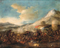 An Infantry Battle in a mountainous Landscape - (after) Jacques (Le Bourguignon) Courtois