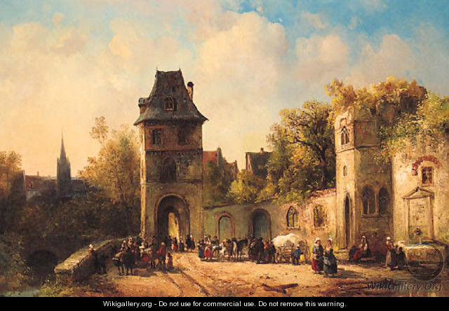Figures gathering near the Gate of a Town - (after) Jacques (Le Bourguignon) Courtois
