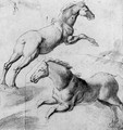 Study of two horses jumping - (after) Giulio Pippi, Called Giulio Romano