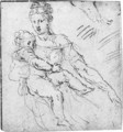 The Madonna and Child, with a subsidiary study of a foot - (after) Girolamo Da Carpi