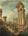 Capricci of Roman Ruins with Figures - (after) Giovanni Paolo Panini