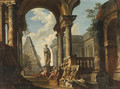 A Capriccio of Roman Ruins with Soldiers resting in the foreground - (after) Giovanni Paolo Panini