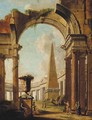A capriccio of Roman ruins with a soldier and other figures - (after) Giovanni Paolo Panini