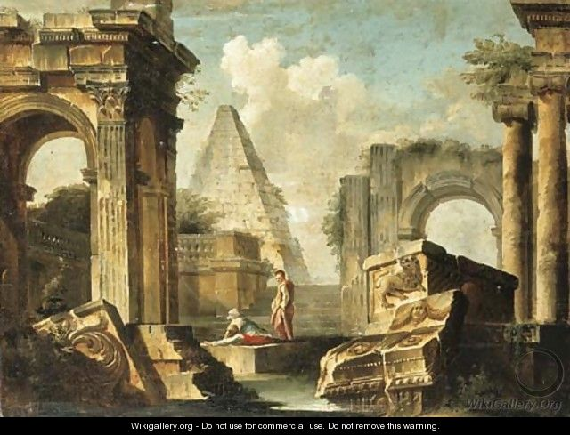 A capriccio of classical ruins with figures - (after) Giovanni Paolo Panini