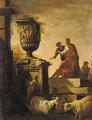 A capriccio of classical ruins with figures conversing before an urn - (after) Giovanni Paolo Panini