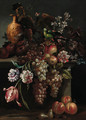 Still life of a pomegranate - (after) Giovanni Paolo Castelli, Called Spadino
