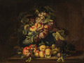 Peaches, plums, grapes, pears and limes in an urn with other fruit on a ledge - (after) Giovanni Paolo Castelli, Called Spadino
