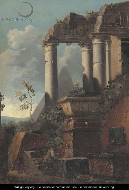 Classical ruins and a pyramid with figures conversing - (after) Giovanni Ghisolfi
