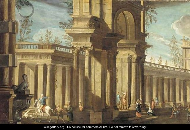 A capriccio of a classical palace with elegant figures - (after) Giovanni Ghisolfi