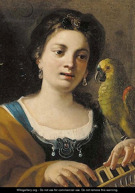 A girl, half-length, playing a keyboard instrument, with a parrot - (after) Giovanni Domenico Tiepolo