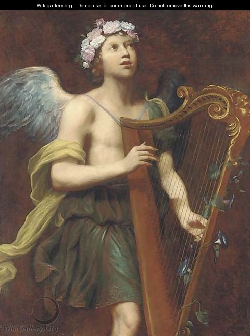 An angel playing the harp - (after) Guido Cagnacci