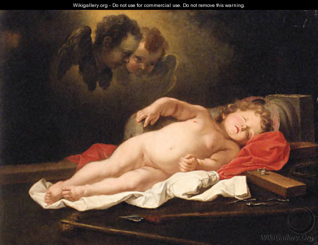 The infant Christ sleeping by the Instruments of the Passion - (after) Govert Teunisz. Flinck