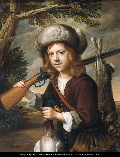 A portrait of a youth, standing three quarter length in a landscape, holding a dead duck and a rifle - (attr. to) Flinck, Govaert