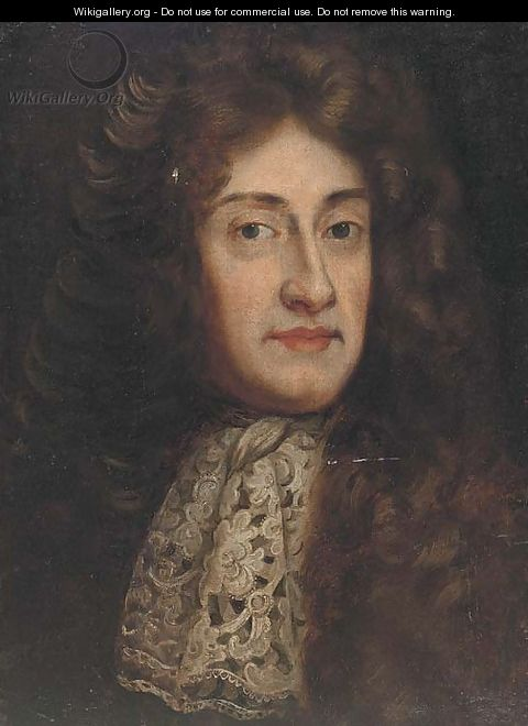 Portrait of a gentlman, bust-length, in a full wig and lace tie - (after) Kneller, Sir Godfrey