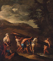 Peasants carrying a fallen tree across a stream in a landscape - (after) Giuseppe Maria Crespi