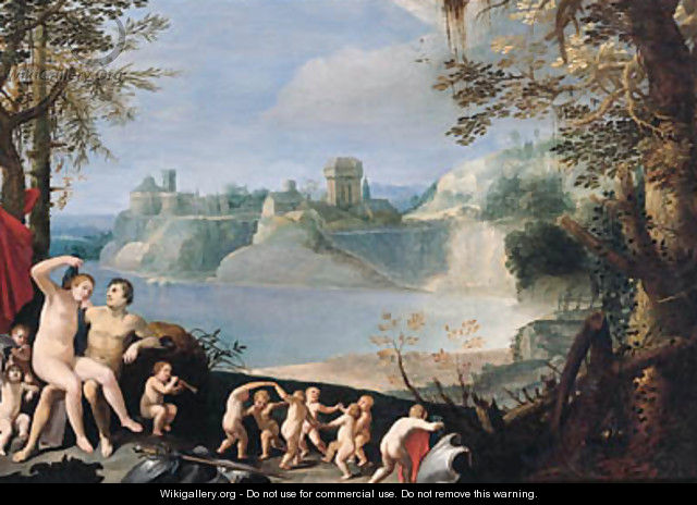 Mars and Venus in a river landscape - (after) Giuseppe (d