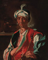 An Oriental man, in a plumed turban, smoking a hookah - (after) Giuseppe Bonito