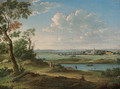 An extensive river landscape with a horseman on a path, a church and town beyond - (after) Hendrik Frans Van Lint (Studio Lo)