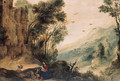 An extensive landscape with the Rest on the Flight into Egypt - (after) Gijsbrecht Leytens
