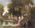 Elegant figures before a country house - (after) Henry Andrews