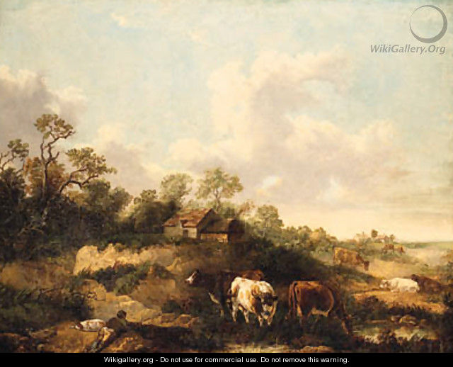 A Drover And Cattle Resting In A Wooded Landscape - (after) George Morland