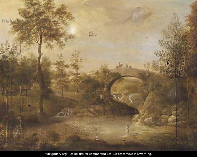 Figures bathing under a bridge in a wooded landscape - (after) George Cuitt