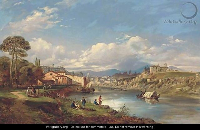 On the Tiber, Rome - (after) George Clarkson Stanfield