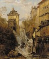 A waterfall through an Alpine town - (after) George Clarkson Stanfield
