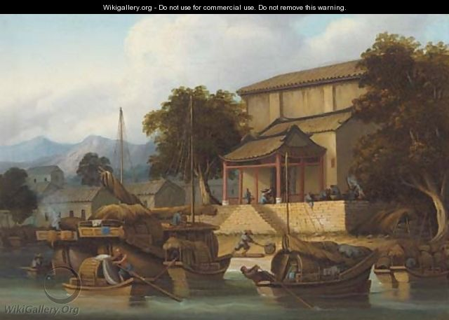 Sampans and junks on a Chinese river - (circle of) Chinnery, George (1774-1852)