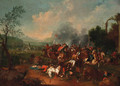 A cavalry skirmish near a castle - (after) Georg Phillip Rugendas II