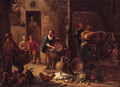 A peasant family in a farmyard with pots and pans, cabbages and poultry, a milkmaid in a stable beyond - (after) Gerard Thomas