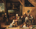 A peasant family in a barn with vegetables and kitchen utensils in the foreground - (after) Gerard Thomas